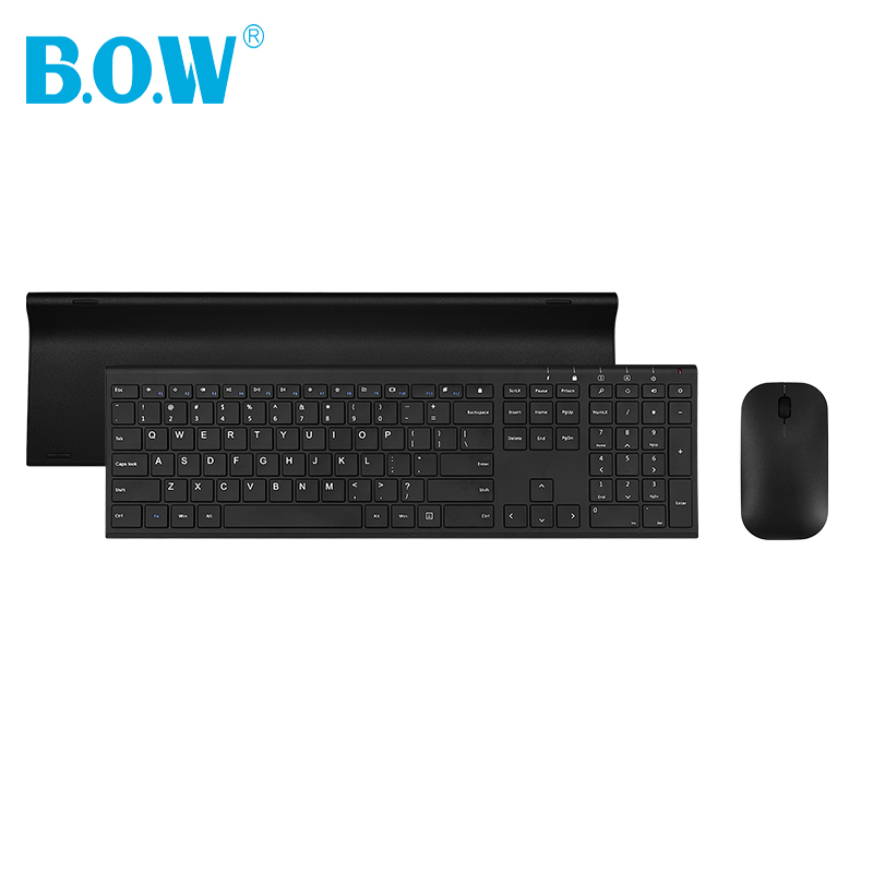 B.O.W Slim Metal 2.4 Ghz Wireless keyboard and mouse Kits,Ultra thin Wireless keyboard with USB Port for Mac Win 10 Android цена