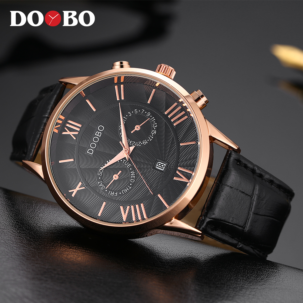 DOOBO Luxury Brand Men Army Military Wrist Watches Men's Business Quartz Date Clock Male Leather Sports Watch Relogio Masculino top brand luxury waterproof men sports watches men s quartz led digital clock male army military wrist watch relogio masculino
