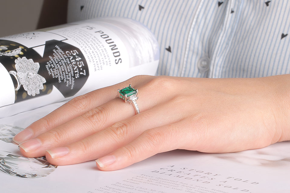 HTB1wWaWJwmTBuNjy1Xbq6yMrVXaA UMCHO Green Emerald Genuine 925 Sterling Silver Rings for Women Promise Princess Gemstone Ring Wedding Romantic Jewelry Gift New