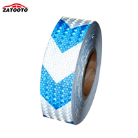 2 164 White With Blue Arrows Reflective Warning Conspicuity Tape Film Sticker Truck Conspicuity Strips Reflective