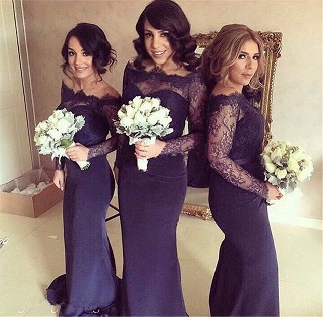 2017 Y Off The Shoulder Mermaid Navy Blue Bridesmaid Dresses With Long Sleeves Lace Bodice