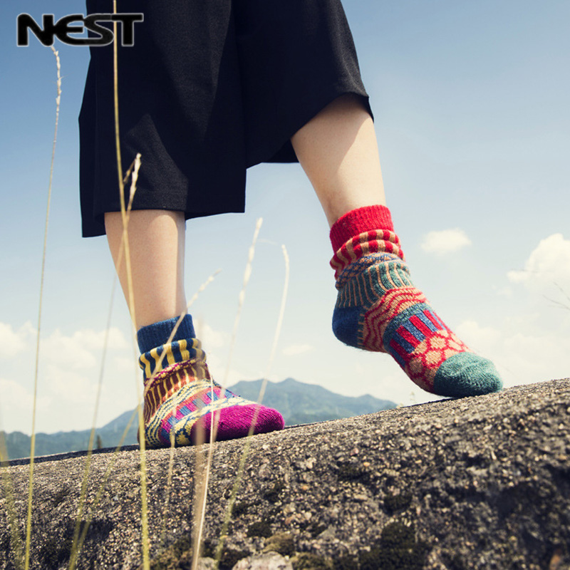 NEST 5 Pairs/Lot Winter National Thick   Socks   Women Cotton Fashion Warm   Sock   Quality Fabric Female   Sock