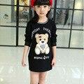 Девушки весна осень одежда пальто мультфильм Медведь девушки капюшоном толстовка детская одежда футболка майка детская футболка