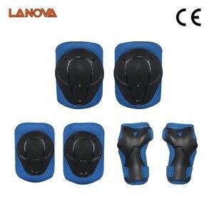 Image 5 - LANOVA 6 teile/satz schutzhülle patins Gesetzt Knie Pads Ellenbogen Pads Handgelenk Protector Schutz für Roller Radfahren Roller Skating