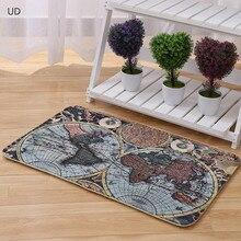Venta al por mayor nueva alfombra del mapa del mundo mesita para café de sala de estar alfombra dormitorio baño cocina alfombra suelo Vintage 40*60cm