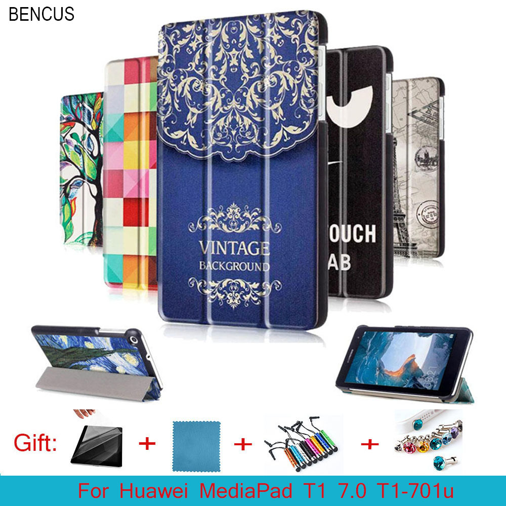 BENCUS For huawei T1 7.0 T1-701u SL Leather cover Case funda For Huawei MediaPad T1 7.0 T1-701u Tablet case