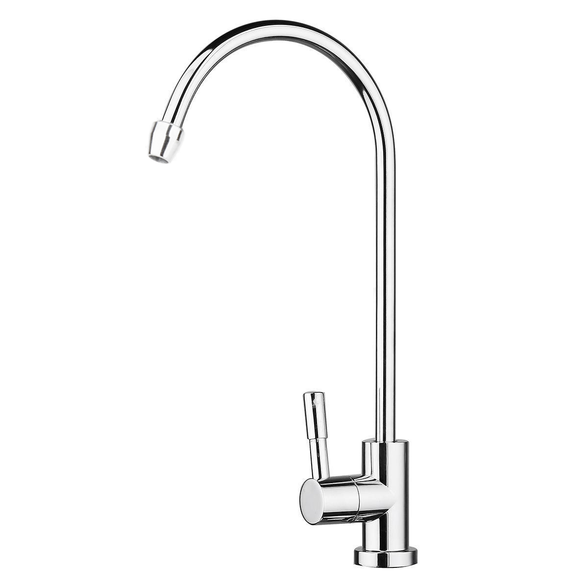 Stainless Steel Drinking RO Water Filter Faucet 1/4 360 Degree Rotation Design Fit Kitchen Sink