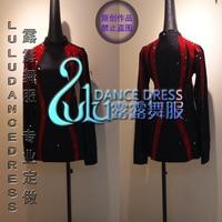 Customizing Black redLatin shirts Latin Dance Dress Clothing Salsa Leather Belt Competition man shirt Black velvet fabric