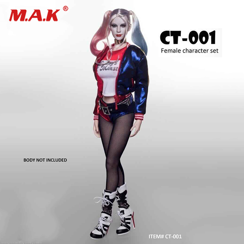 1/6 Scale Suicide Squad Harleen Quinn Cosplay Costumes Clothes Sets & Female Head sculpt For pale color figure 12 Accessories 1 6 scale suicide squad harley quinn clothes set with head sculpt for female 12 inches action figure bodies