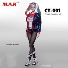 1/6 Scale Suicide Squad Harley Quinn The Joker Costumes Clothes Sets & Female Head sculpt For pale color figure 12  Accessories 1 6 suicide squad set018 b female joker harley quinn head sculpt and prison clothes set for 12 action figures bodies