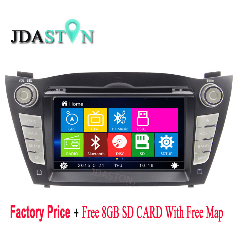 JDASTON Car DVD CD Player For Hyundai iX35 Tucson 2009-2015 Bluetooth 1080P GPS Radio Autoaudio Naviagtion Touch Screen USD SD