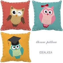 Cartoon Owls Series Print Custom Light Color Accent Pillows For Sofas Kids  Chair Cushion Home Decor