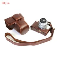 New Luxury Leather Camera Case For Olympus EPL8 EPL7 Digital Camera PU Leather Camera Bag Cover With Battery Opening + strap