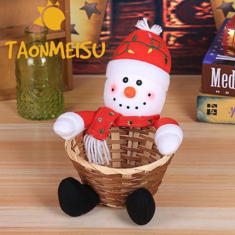 Merry Christmas Candy Storage Basket Large Size Santa Claus Storage Desktop Home Party Decoration Children S Candy Basket Gift Gift Bags Wrapping Supplies Aliexpress