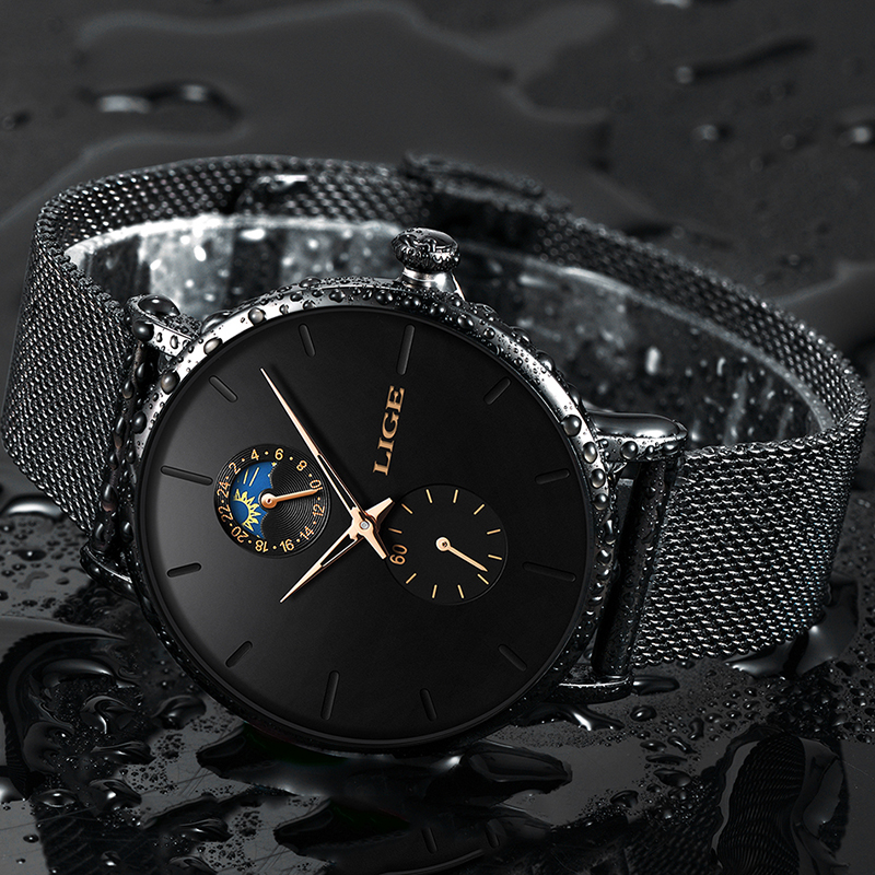 LIGE 2019 New Fashion Sports Mens Watches Top Brand Luxury Waterproof Ultra Thin Watch For Men