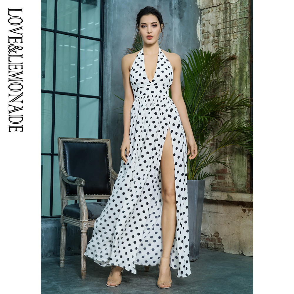 Love&Lemonade Black And White Dot Long Dress LM1362