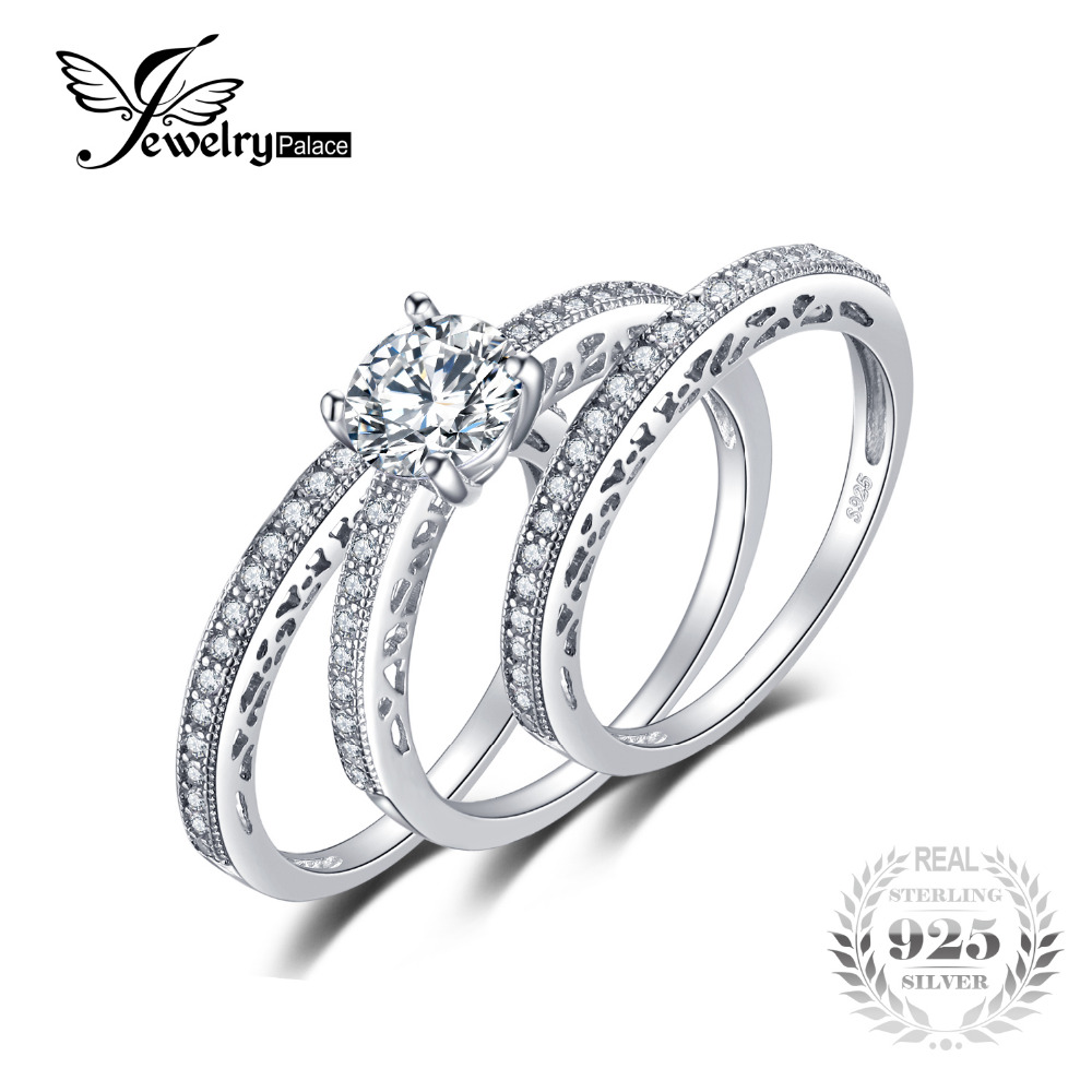 JewelryPalace Vintage 1 5ct Cubic Zirconia 3 Pcs Anniversary Wedding Band Engagement Ring Bridal Sets 925