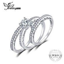 Jewelrypalace винтажные 1.5ct фианит 3 шт. годовщина свадьбы кольцо обручальное кольцо Свадебные комплекты 925 серебряные кольца