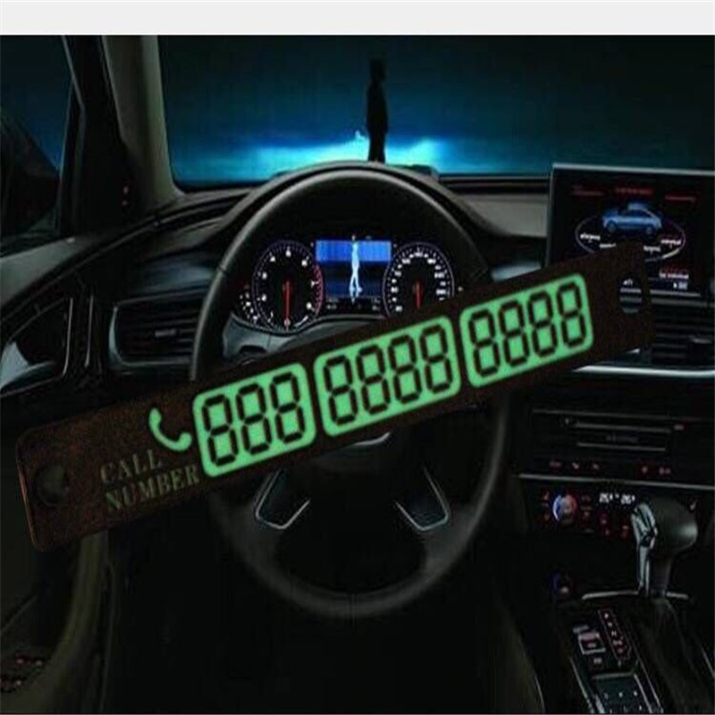 Car Luminous Temporary Parking Card With Suckers And Phone Number Card For Golf 6 VI  Tiguan Passat B6  MK5 MK6 Polo Bora