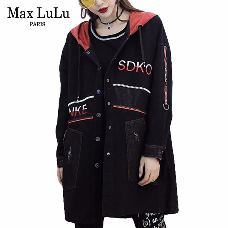 Max LuLu Luxury Japanese Designer Ladies Embroidery Streetwear Womens Hooded Long Denim   Trench   Coat Woman Punk Clothes Plus Size