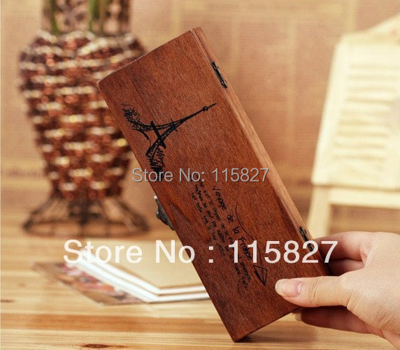 Free Shipping!Vintage style wooden box Wooden pencil case Stationery Box Wooden desk organization wooden storage box