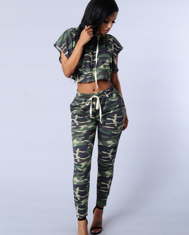 Women's Two Piece Bikini – Crop Top / Bandeau Style Panty / Army Green.