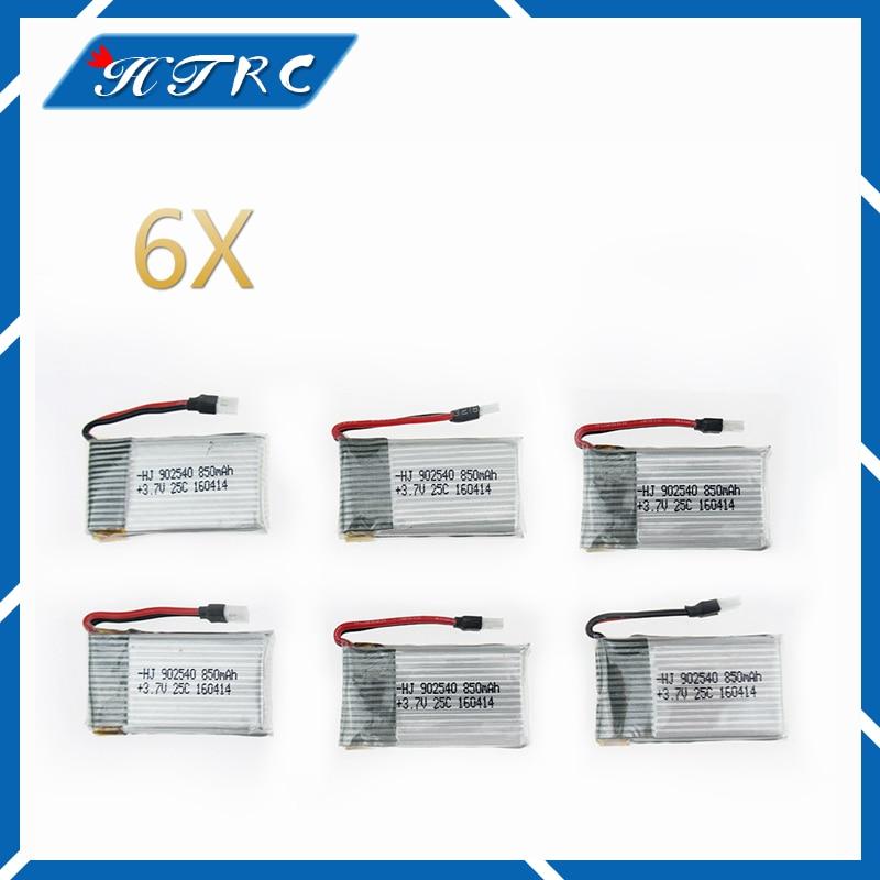 6 unids 3.7 V 850 mAh 25C li-polímero del drone polymre batería 902540 vierta RC Syma X5C X5SC X5SW X5HC quadcopter avions jouet