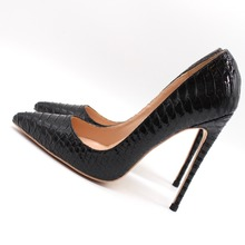 Free shipping fashion women Pumps Black patent Leather snake  point toe high heels 12cm 10cm  8cm party shoes цена