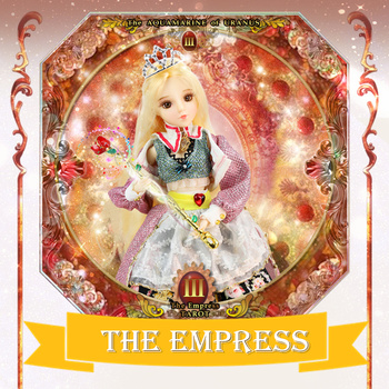 TAROT CARD Major Arcana The empress joint body doll golden blonde hair 34cm east barbi