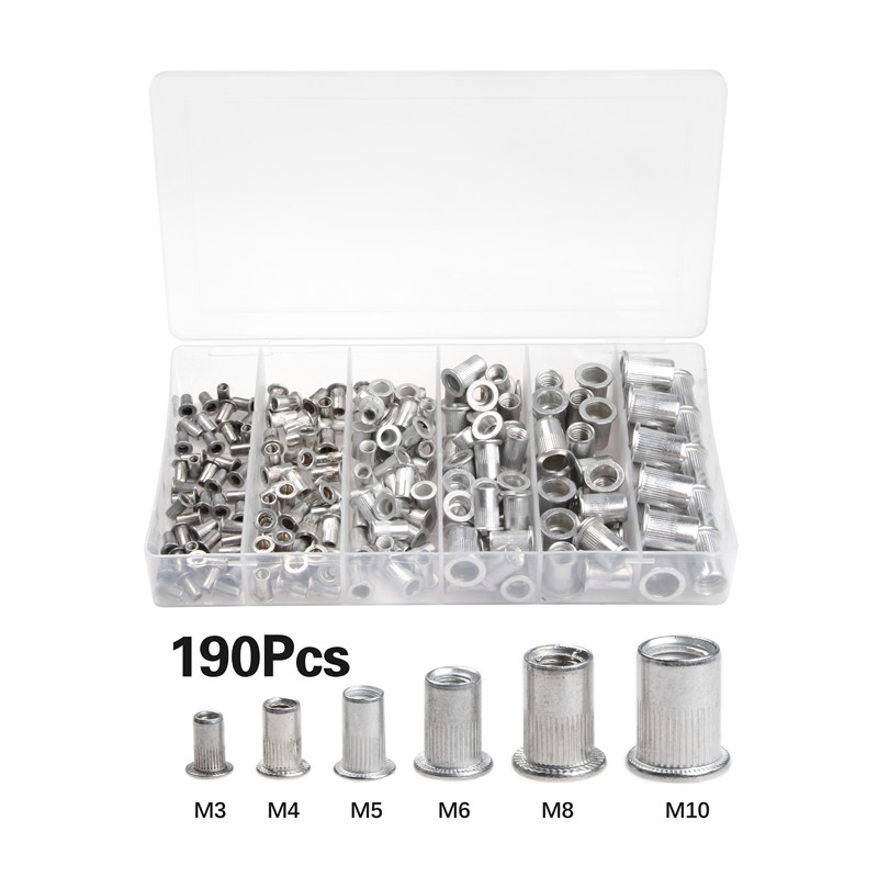 190pcs M3 M4 M5 M6 M8 M10 Rivet Nut Aluminum Alloy Rivnut Flat Head Threaded Insert Cap Set190pcs M3 M4 M5 M6 M8 M10 Rivet Nut Aluminum Alloy Rivnut Flat Head Threaded Insert Cap Set