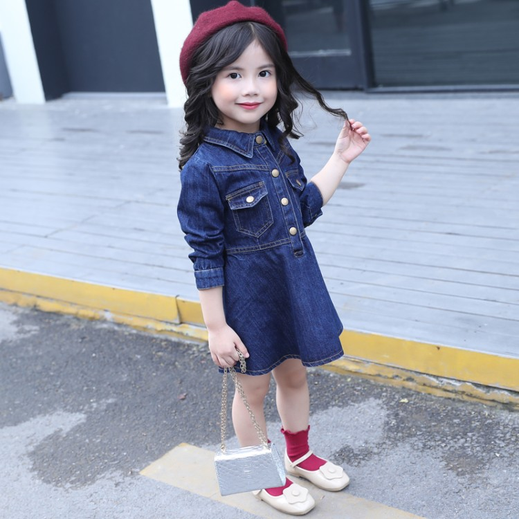 цена  2017 new fashion spring autumn 1-6 years old baby dresses girls denim dress child solid clothing children clothes  онлайн в 2017 году