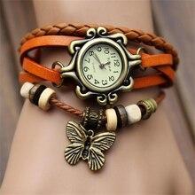 2017 НОВАЯ Мода браслеты Таблица Женский butterfly браслет часы кварцевые часы спортивные часы для девочки часы