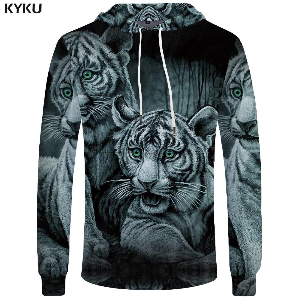 KYKU Brand Tiger Hoodies Men Jungle Mens Clothing Animal Hoddie Sweatshirt Sweatshirts Big Size 3d Hoodies Cool 2018 Casual