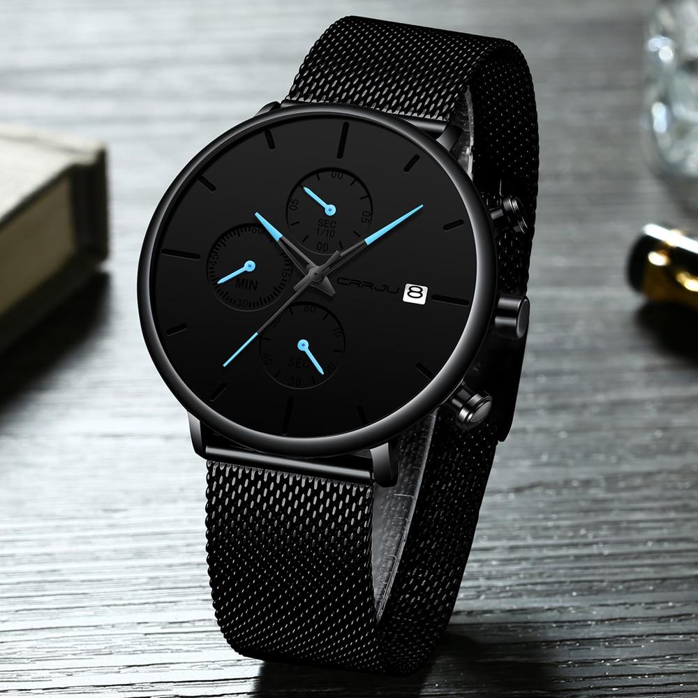 CRRJU mode montre hommes étanche mince maille bracelet minimaliste montres pour hommes Quartz sport montre horloge Relogio Masculino 2