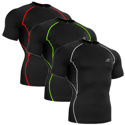mens shirts 88% polyester 12% spandex latest wholesale compression fitness clothing Fitn ...