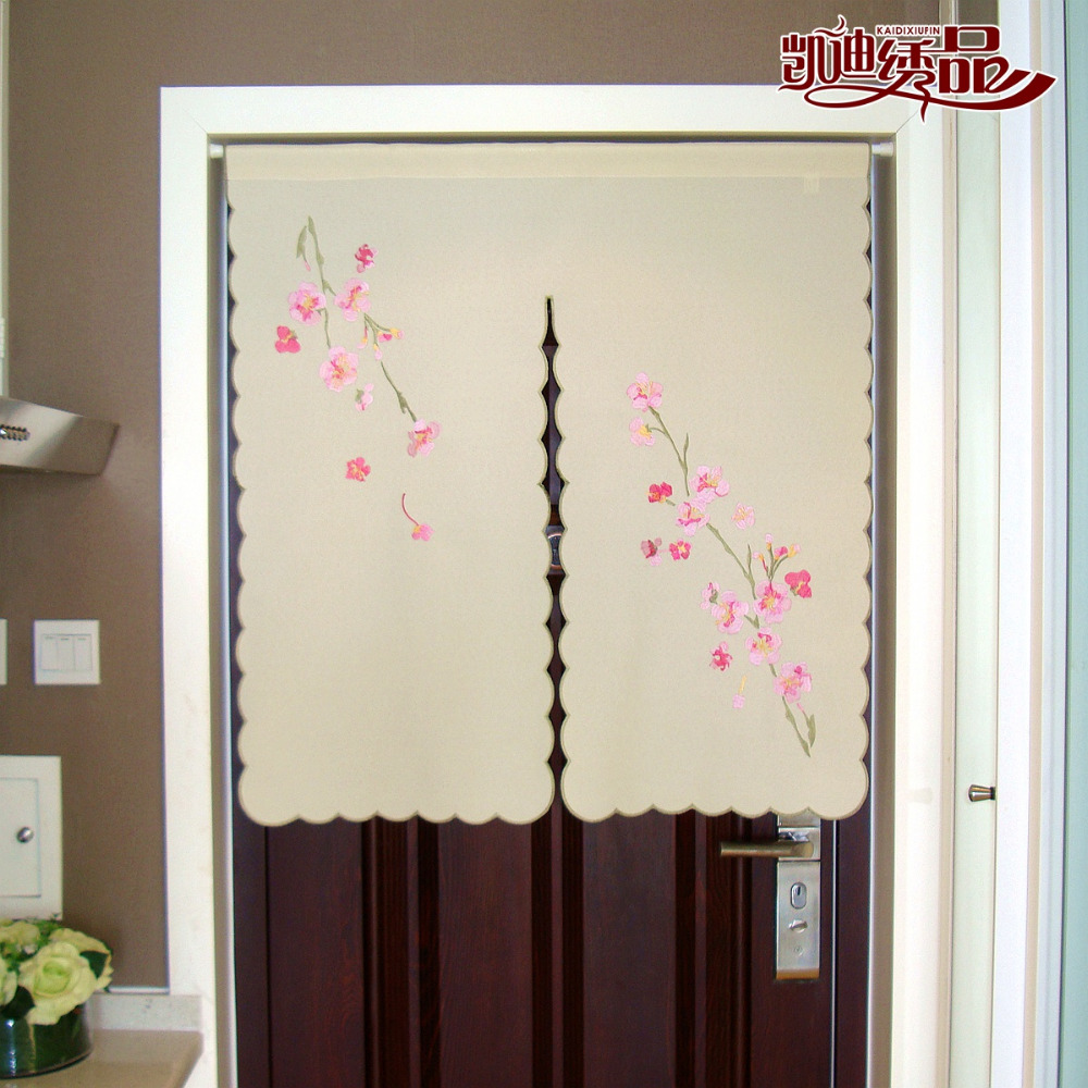 Door half window curtains - Halfcurtain Highgrade Flower Embroidered Window Light Shading Curtain For Kitchen Cabinet Door