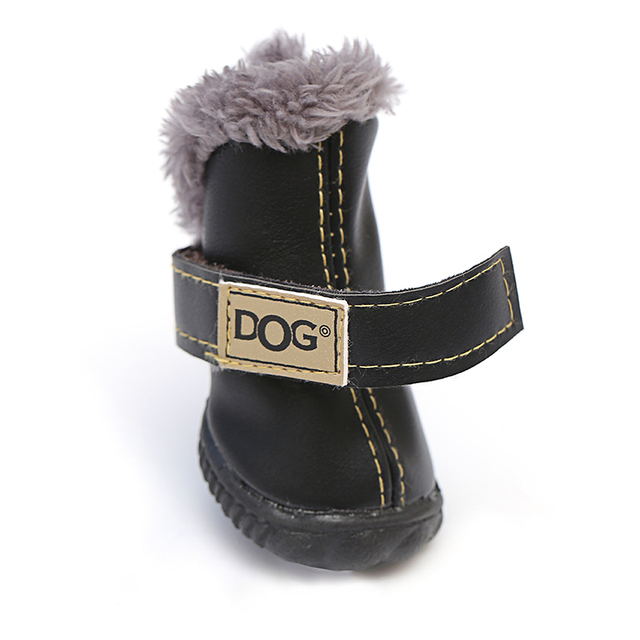 Winter Snow Leather Shoes For Chihuahua