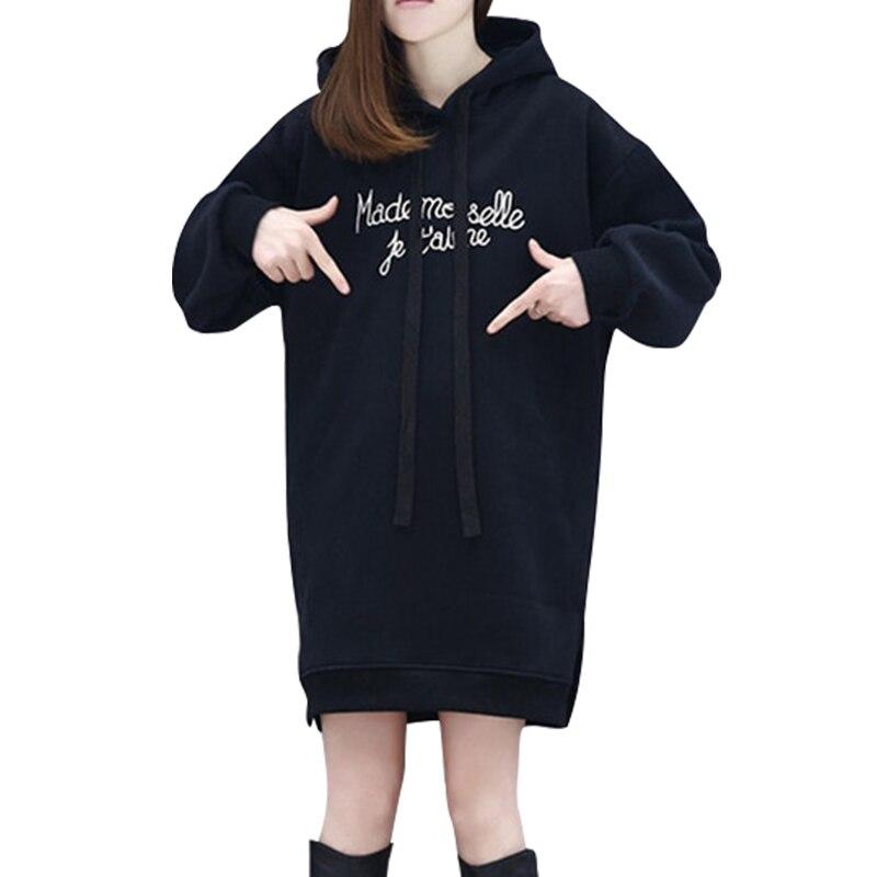 cab5a9e3 Купить Новое поступление 2018 Модные женские толстовки с длинным рукавом  Длинный свитшот Повседневный стиль для девочек розовый и черный с капюшоно.