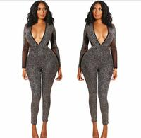 Gray Stones Long Sleeves V neck Backless Jumpsuit Women's Bar Party Celebrate Outfit DS DJ Women Singer Dance Leggings Outfit
