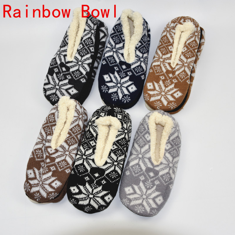 Rainbow Bowl Free Shipping New Winter Warm Plush Home Slippers Shoe Men Soft Bottom Indoor Slipper Floor Socks House Shoes cotton padded cashmere 2017 new floor retail hotel women indoor slippers for men home shoe floor soft indoor warm plush slipper