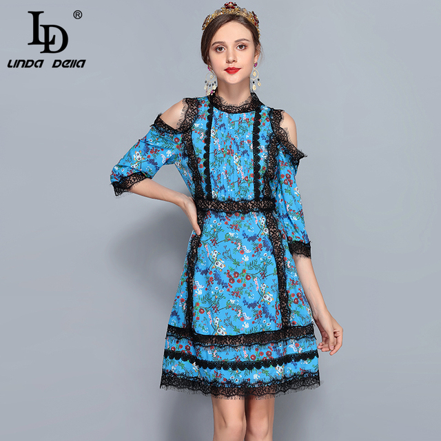 Summer Runway Designer Dress Women's Sexy Off the Shoulder Lace Patchwork Draped Floral Printed Dress