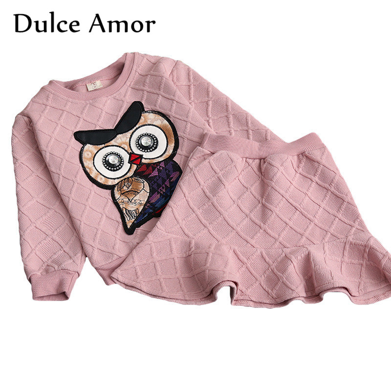 Dulce Amor Girls Clothes Set 2018 New Spring Cotton Kid Clothing Suit For Girl Long Sleeve Embroidery Owl Sweatshirt + Skirt free shipping children clothing spring girl three dimensional embroidery 100% cotton suit long sleeve t shirt pants