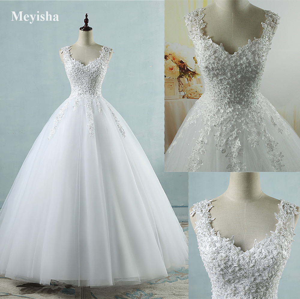 ZJ9076 Bollklänningar Spaghetti Banden Vit Elfenben Tulle Bröllopsklänningar 2018 Med Pärlor Brudklänning Äktenskap Kund Made Size