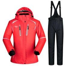Kombinezon narciarski Kobiet Grube Zimowe śnieg odzież zestaw Sportowy Kobieta kurtka narciarska snowboard Kurtka i spodnie ustawić kobiet-20-30 Stopni