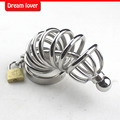 Male Stainless Steel Chastity Cock Cage 5 Size Ring Choose Penis Restraint Belt Prevent Masturbation Urethral Sounds Sex Toy