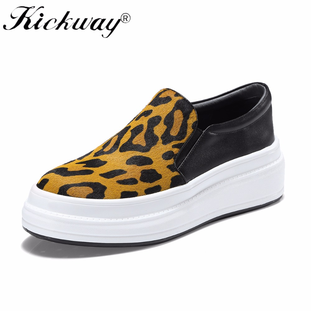 Women Flat Platform Casual Shoes Spring Autumn Women Genuine Leather Loafers Fashion flats Leopard Horsehair Shoes Woman Kickway однофазный стабилизатор напряжения энергия асн 500