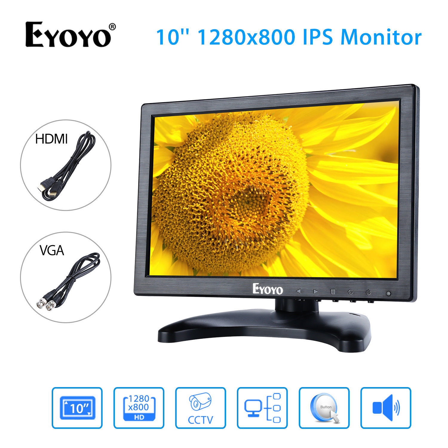EYOYO H1016 IPS 10'' FHD Display 1280x800 VGA BNC USB Video Audio AV HDMI Monitor Black For CCTV DVD PC Laptop DVR CCD Camera escam t10 10 inch tft lcd remote color video monitor screen with vga hdmi av bnc usb for pc cctv home security system camera