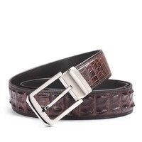 Classical Designer Exotic Alligator Skin Belt For Men Stainless Steel Needle Buckle Genuine Crocodile leather Man Belts