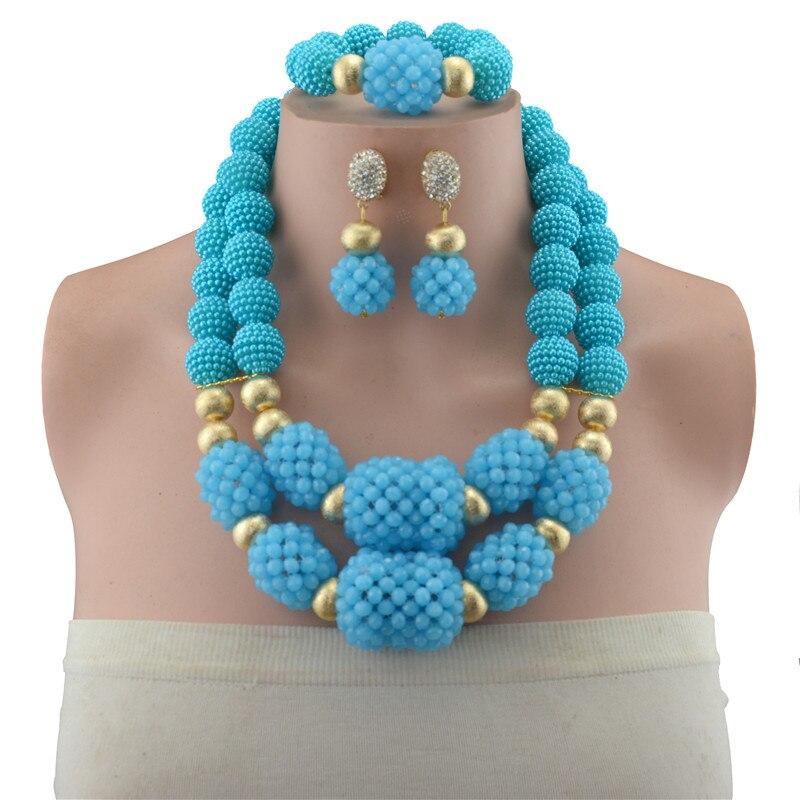 Ensembles de bijoux de perles africaines de mode pour les femmes de mariage Vintage Dubai or perles de cuivre ensembles de bijoux de luxe designers italiens