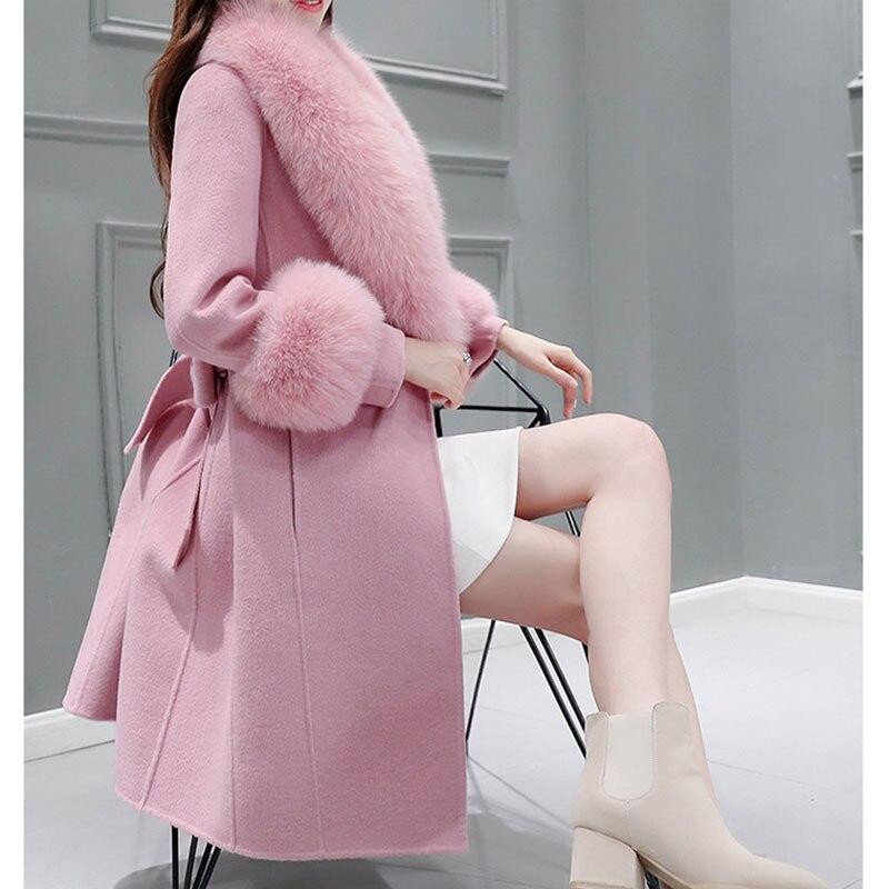 Haute Automne Mince De Veste Long hiver Vêtements 2018 Femmes Camel Qualité Ceinture Laine Manteau Col pink Survêtement Fourrure xRwqY7x8
